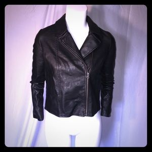 Children's Place Black Faux Leather Girls Jacket